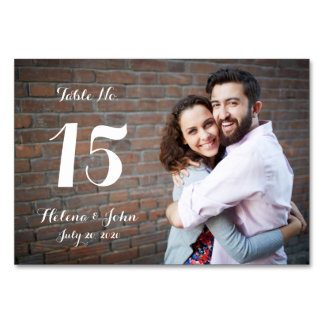 Typography Photo Wedding Table Number Card Table Card
