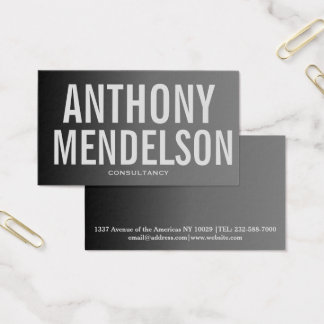 Typography professional grey black gradient business card