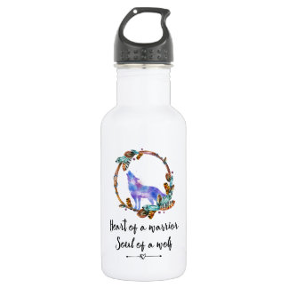 Typography Quote with Wild Wolf in a Boho Wreath 532 Ml Water Bottle