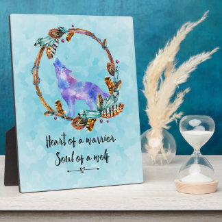 Typography Quote with Wild Wolf in a Boho Wreath Photo Plaque