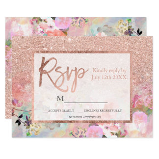 Typography rose gold floral watercolor  rsvp card