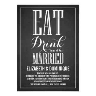 Typography Script Chalkboard Wedding Invitation