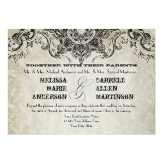 """Typography Style Engravers Fonts Swirl Flourishes 5"""" X 7"""" Invitation Card"""