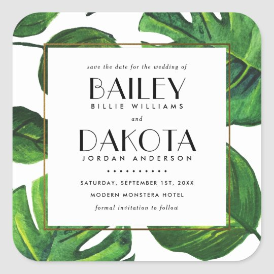 Typography | Tropical Leaves & Gold Save The Date Square Sticker
