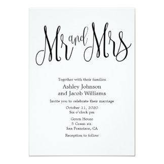 Typography wedding invitation. Mr and mrs invites
