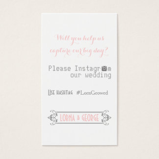 Typography with Instagram hashtag pink wedding