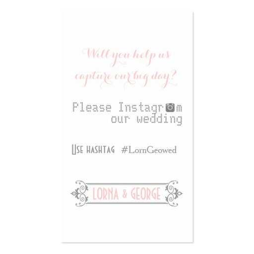 Typography with Instagram hashtag pink wedding Business Card Templates
