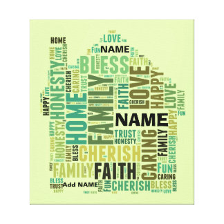 Typography Word Cloud Home Add Names to Customize Stretched Canvas Prints