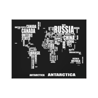 Typography World Map Canvas Print