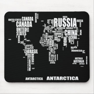 Typography World Map Mouse Mat