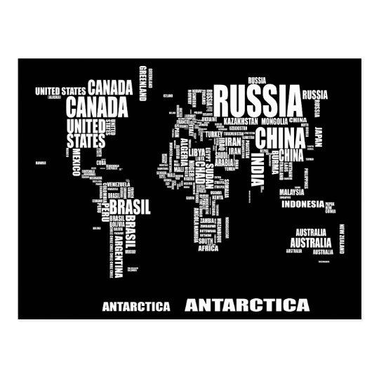 Typography World Map Postcard