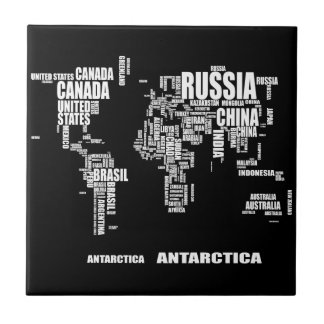 Typography World Map Tile