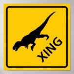 Tyrannosaur Crossing Highway Sign Dinosaur