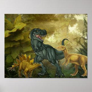 Tyrannosaurus Cartoon & Dinosaurs Poster