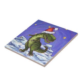 Tyrannosaurus Christmas Ceramic Tiles