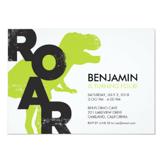 Tyrannosaurus Dinosaur Birthday Party Invitation