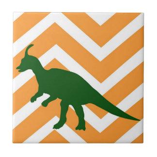 Tyrannosaurus on zigzag chevron - Yellow. Tiles