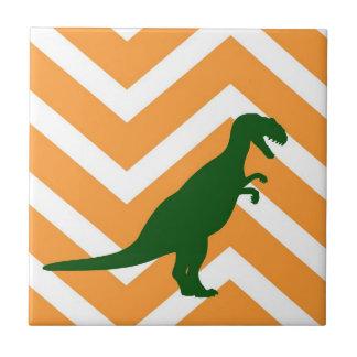 Tyrannosaurus on zigzag chevron - Yellow Tiles