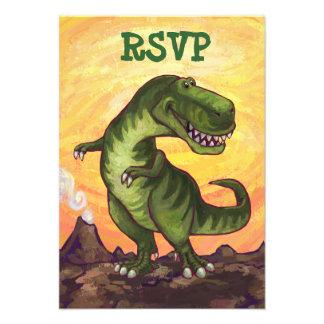Tyrannosaurus Party Center Invitations