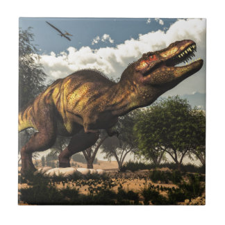 Tyrannosaurus rex and its eggs small square tile