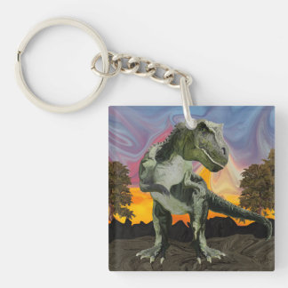 Tyrannosaurus Rex at the Twilight Hour Double-Sided Square Acrylic Key Ring
