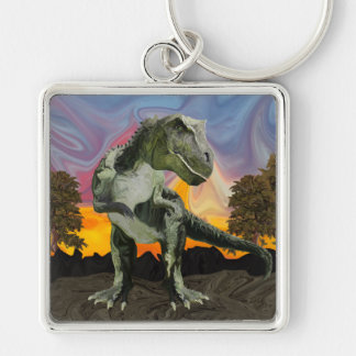 Tyrannosaurus Rex at the Twilight Hour Silver-Colored Square Key Ring