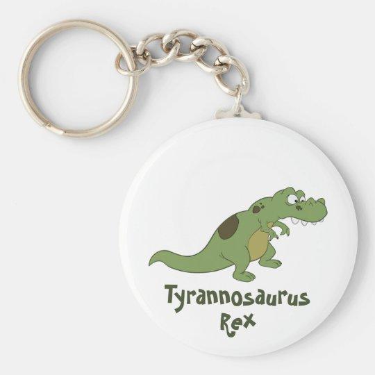 Tyrannosaurus Rex Cartoon Basic Round Button Key Ring