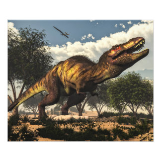 Tyrannosaurus rex dinosaur and its eggs art photo