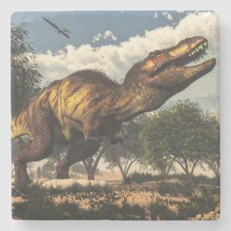 Tyrannosaurus rex dinosaur and its eggs stone coaster