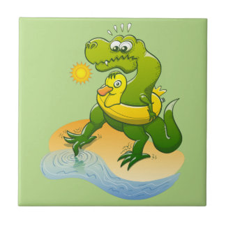 Tyrannosaurus Rex Dipping a Toe in Water Small Square Tile