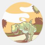 Tyrannosaurus Rex in nature. Round Sticker