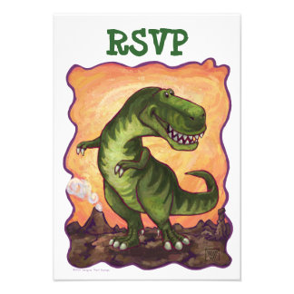 Tyrannosaurus Rex Party Center RSVP Card Custom Invitation