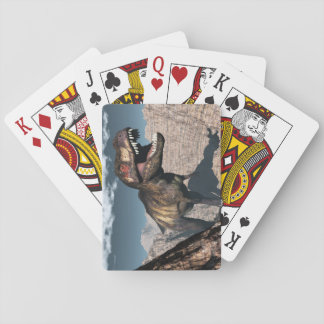 Tyrannosaurus rex roaring in a canyon playing cards