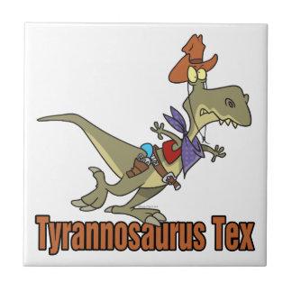 tyrannosaurus rex tex cowboy dinosaur small square tile