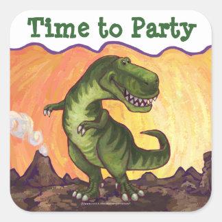 Tyrannosaurus Rex Time to Party Square Sticker
