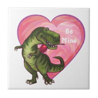 Tyrannosaurus Valentine's Day Small Square Tile