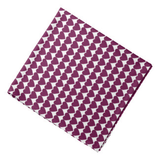 Tyrian Purple Hearts on White Head Kerchiefs