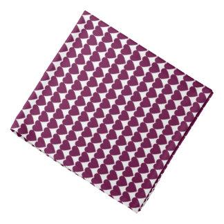 Tyrian Purple Hearts on White Head Kerchiefs