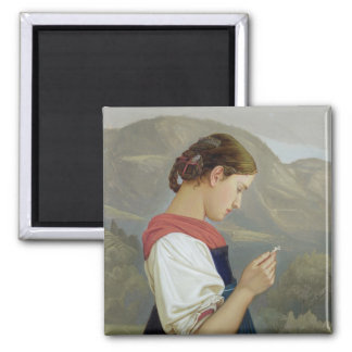 Tyrolean Girl Contemplating a Crucifix, 1865 Square Magnet