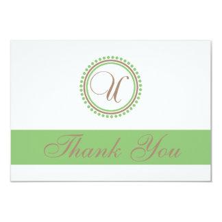 U Dot Circle Monogam Thank You Cards (Brown/Mint) Custom Invites