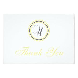 U Dot Circle Monogam Thank You Cards (Yellow/Gray) Custom Invite