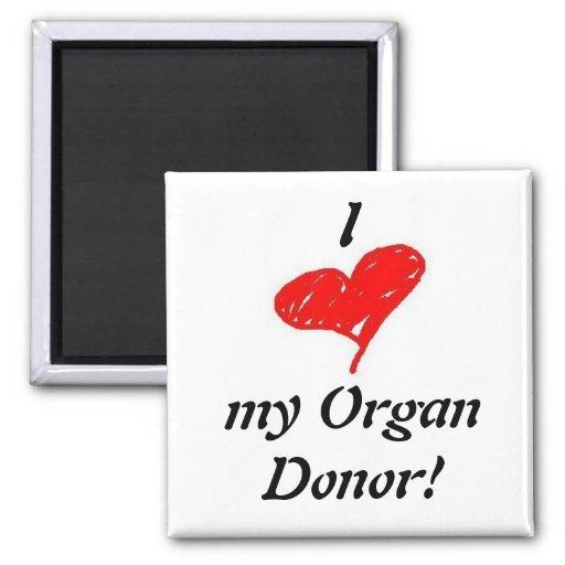 u) I heart my organ donor - Square Magnet