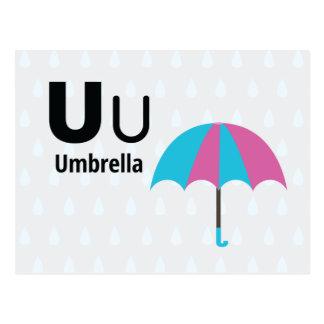 "U is for Umbrella-Alphabet Flash Card-5.5 x 4.25"" Postcard"