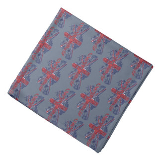 U.J. British Coat of Arms Grey Lapel Pocket Bandana