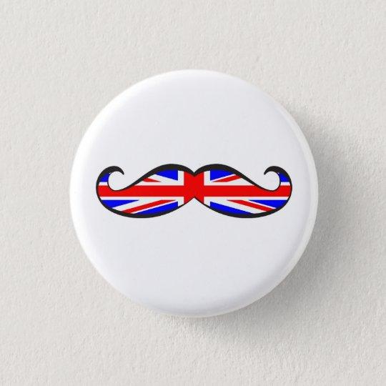 U.K. Flag Moustache 3 Cm Round Badge