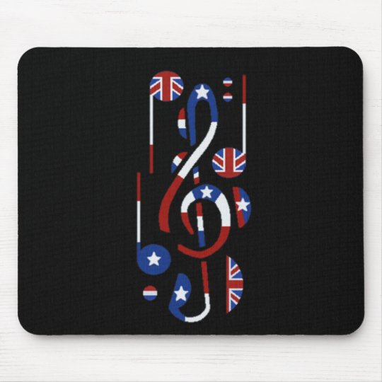 U.K. & USA Music Notes Mouse Mat