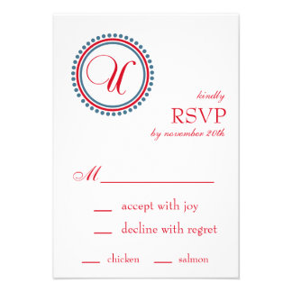 U Monogram Dot Circle RSVP Cards Red Blue