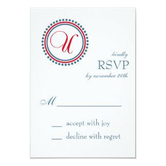 U Monogram Dot Circle RSVP Cards (Red / Blue) Custom Invitations