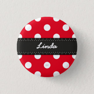 U-pick Background Color/ Classic White Polka Dots 3 Cm Round Badge