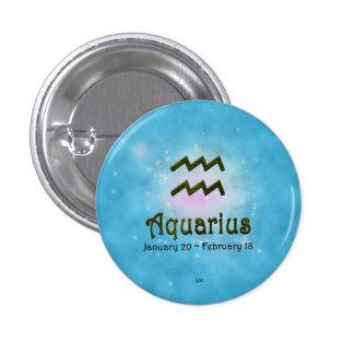 U Pick Color/ Aquarius Zodiac Sign 3 Cm Round Badge